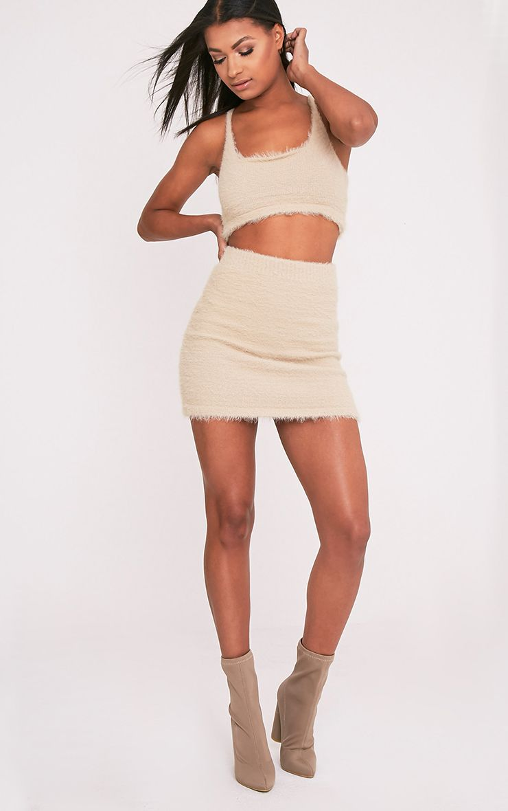 Vivienna Stone Fluffy Knitted Mini Skirt
