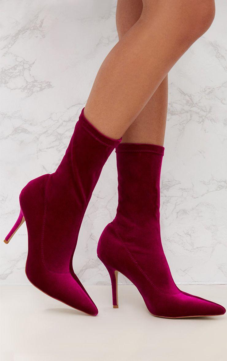 Fuchsia Velvet Pointy Sock Boots