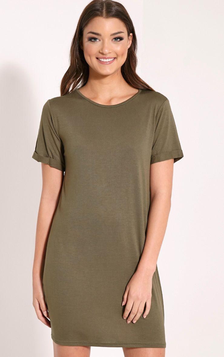 Basic Khaki Boyfriend Jersey T-Shirt Dress 1