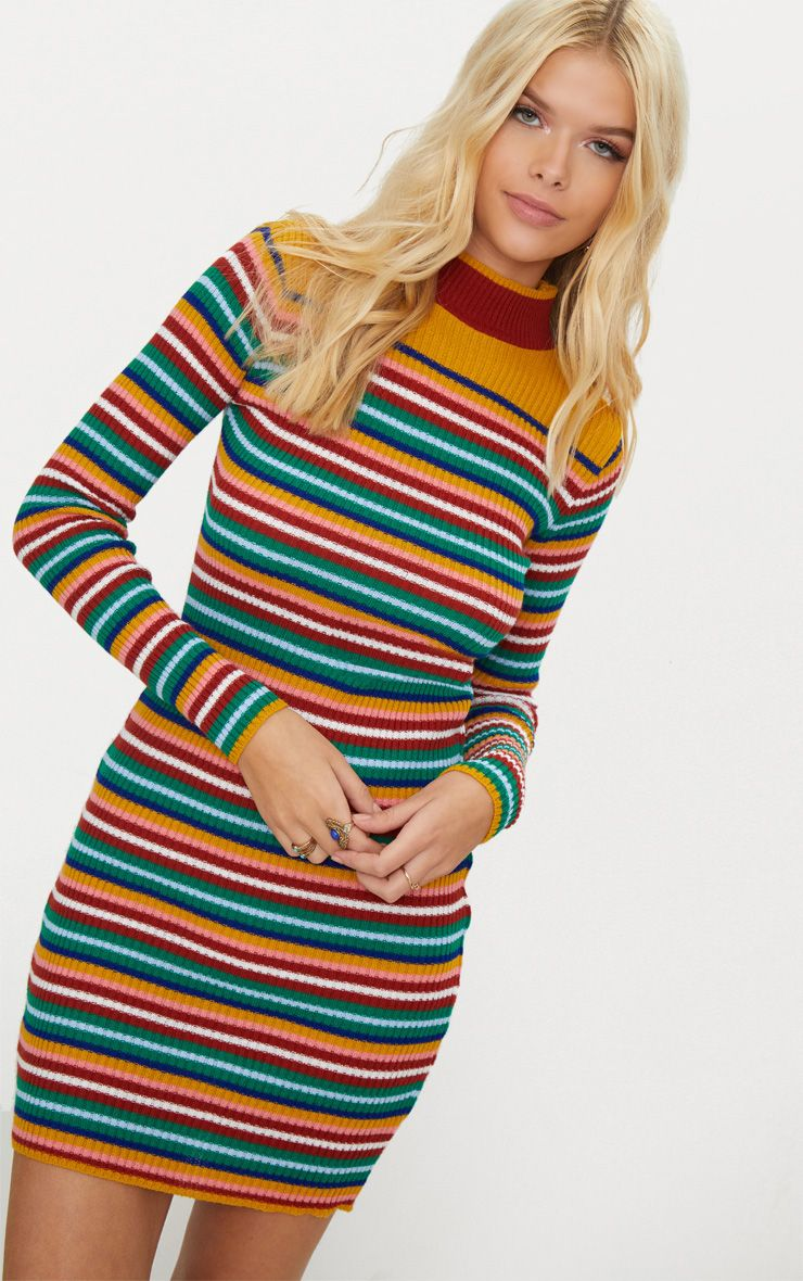 Multi Stripe Rib Dress