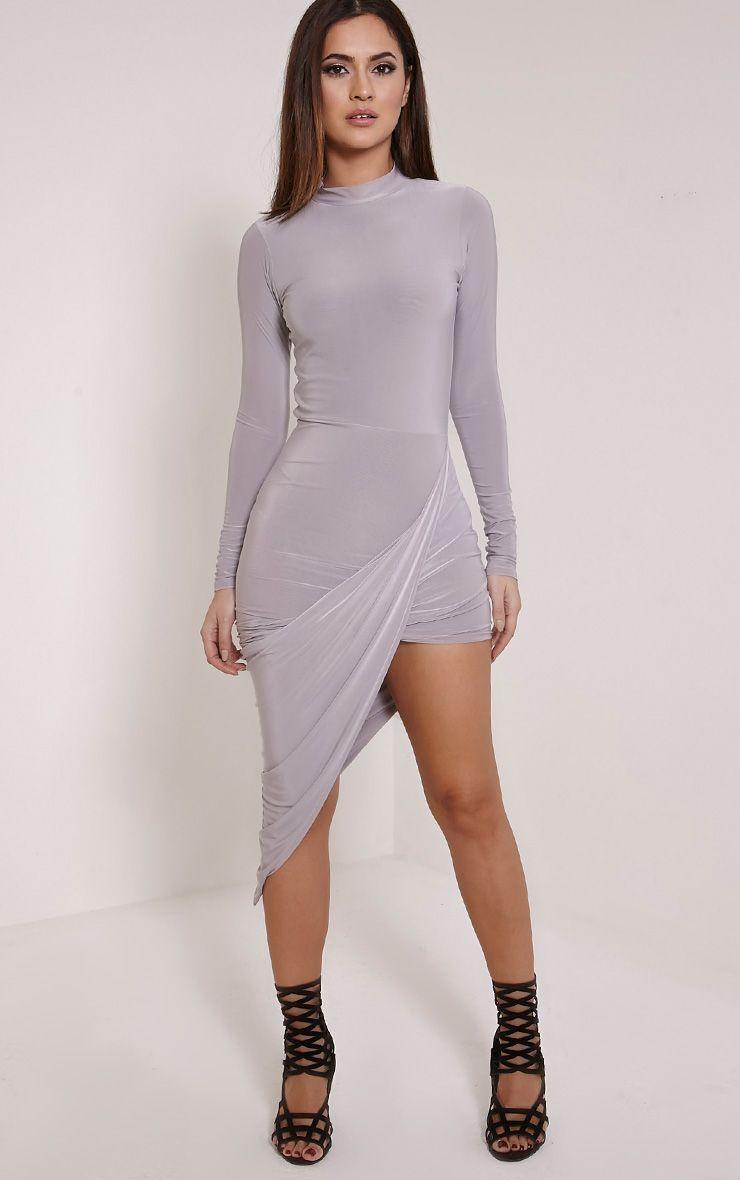 Saffy Grey Long Sleeve Drape Dress 1