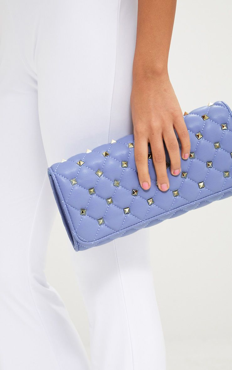 Baby Blue Quilt Studded Clutch