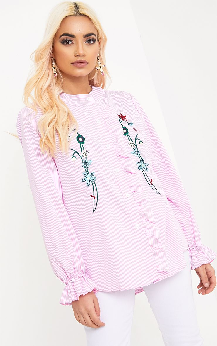 Linette Pink Embroidered Stripe Shirt