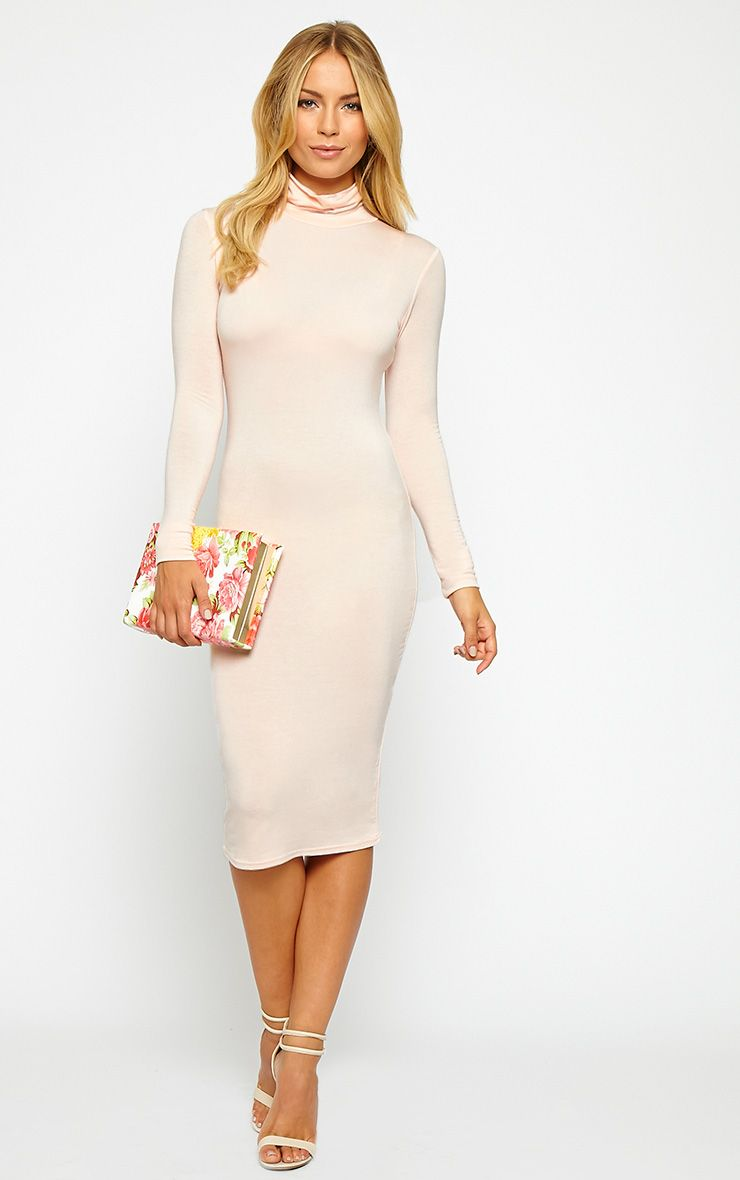 Basic Nude Jersey Roll Neck Midi Dress 1