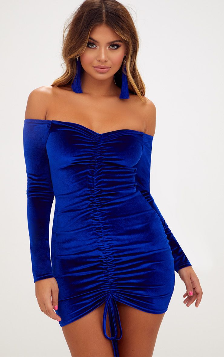 Blue Velvet Bardot Long Sleeve Ruched Bodycon Dress