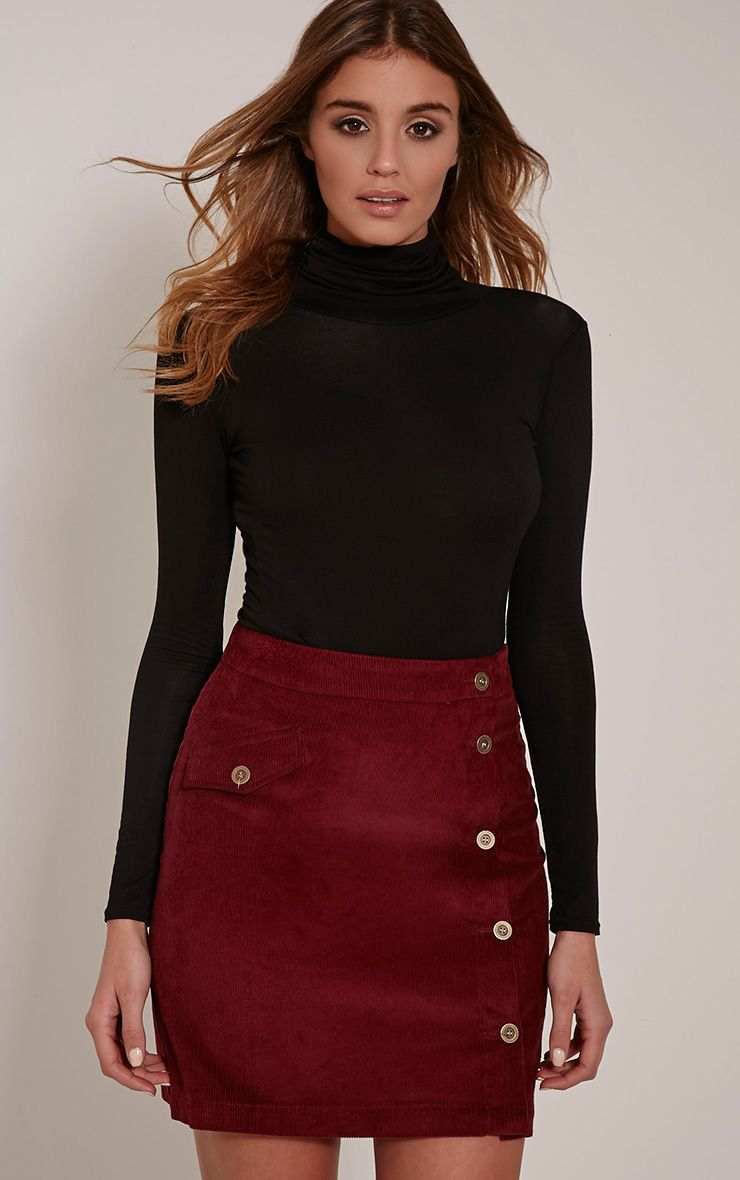 Product photo of Orea burgundy side button cord mini skirt red