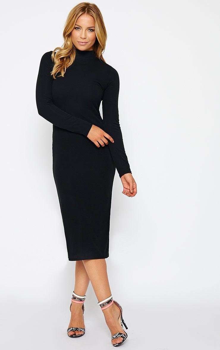 Basic Black Ribbed Turtle Neck Midi Dress 1