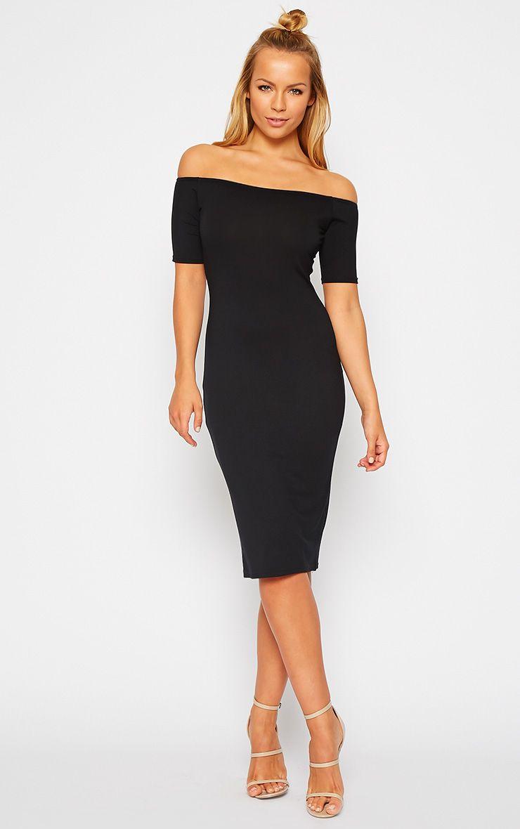 Caty Black Jersey Bardot Dress Dresses