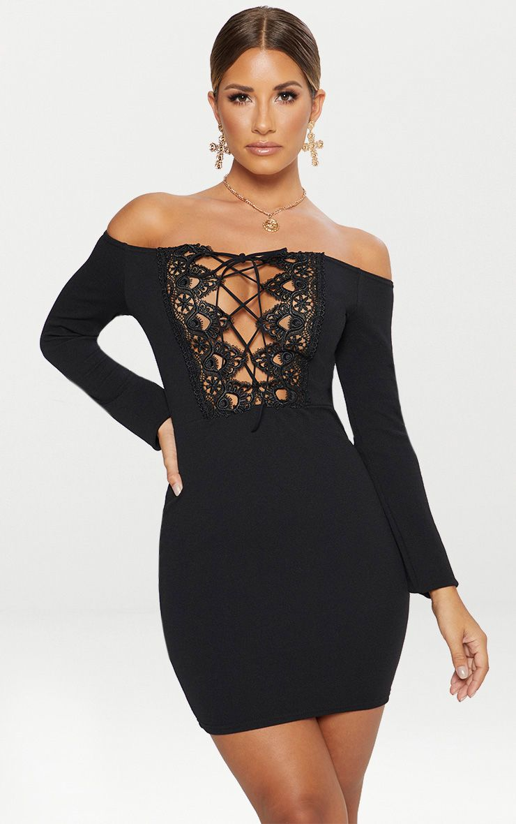 Black Lace Up Bardot Bodycon Dress
