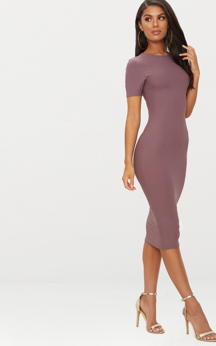 Dark Mauve Cap Sleeve Midi Dress