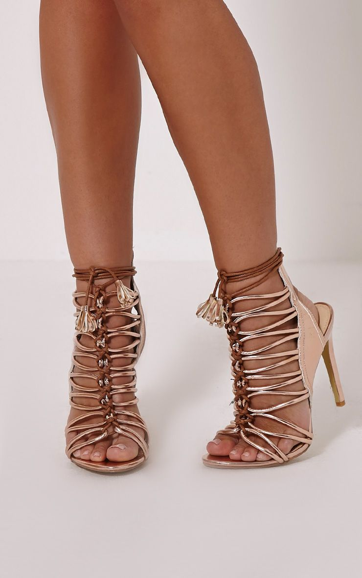 Angelina Rose Gold Strappy Detail Heeled Shoes 1