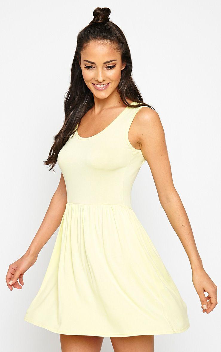 Camile Lemon Sleeveless Jersey Skater Dress 1
