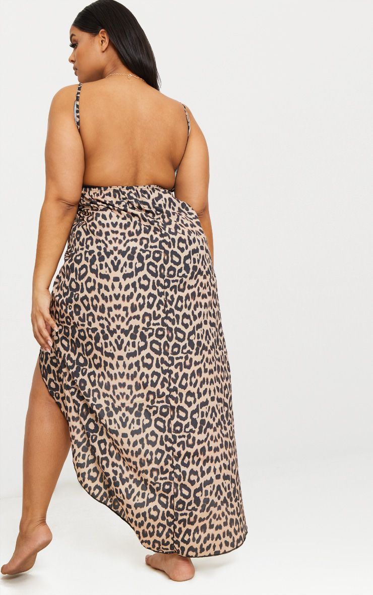 0e3dbeb8f58d7 PrettyLittleThing - Plus Brown Leopard Print Wrap Detail Chiffon Beach  Cover Up Dress - 2