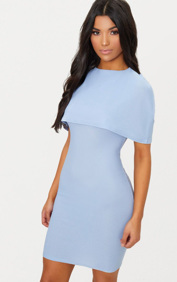 Dusty Blue Cape Detail Midi Dress