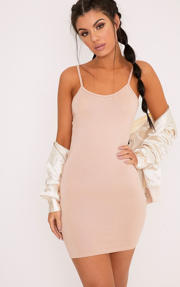 Basic Nude Strappy Bodycon Dress