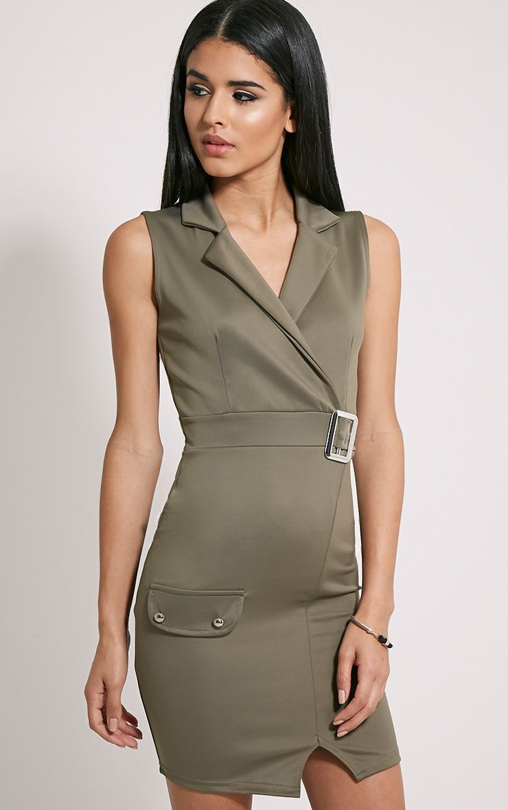 Samaine Khaki Belted Mini Dress 1