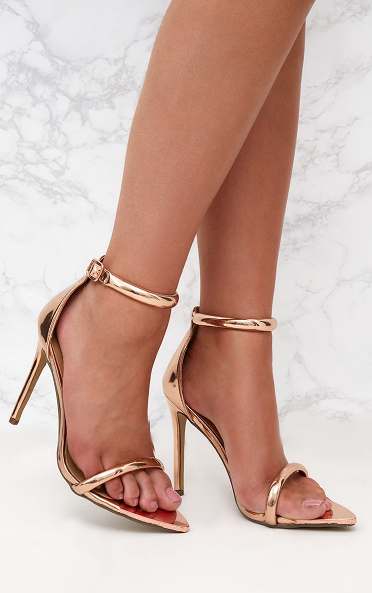 Rose Gold Pointed Toe Strappy Heels