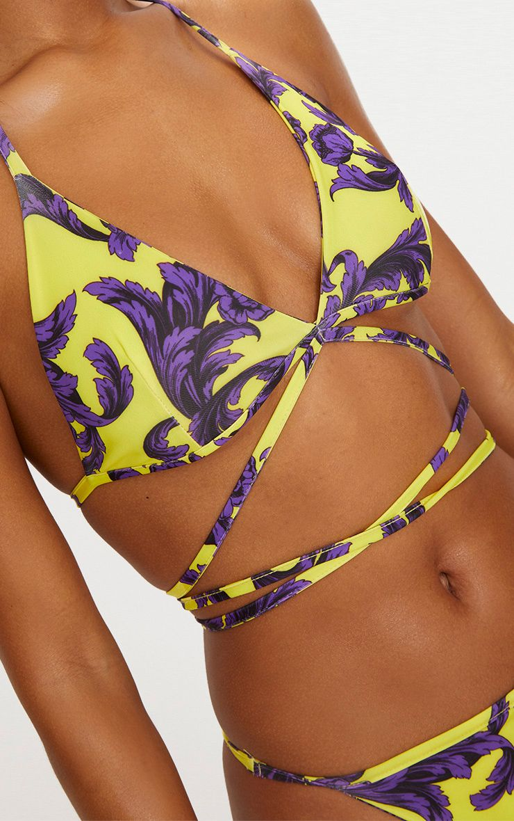 Yellow Baroque Print Wrap Round Bikini Top