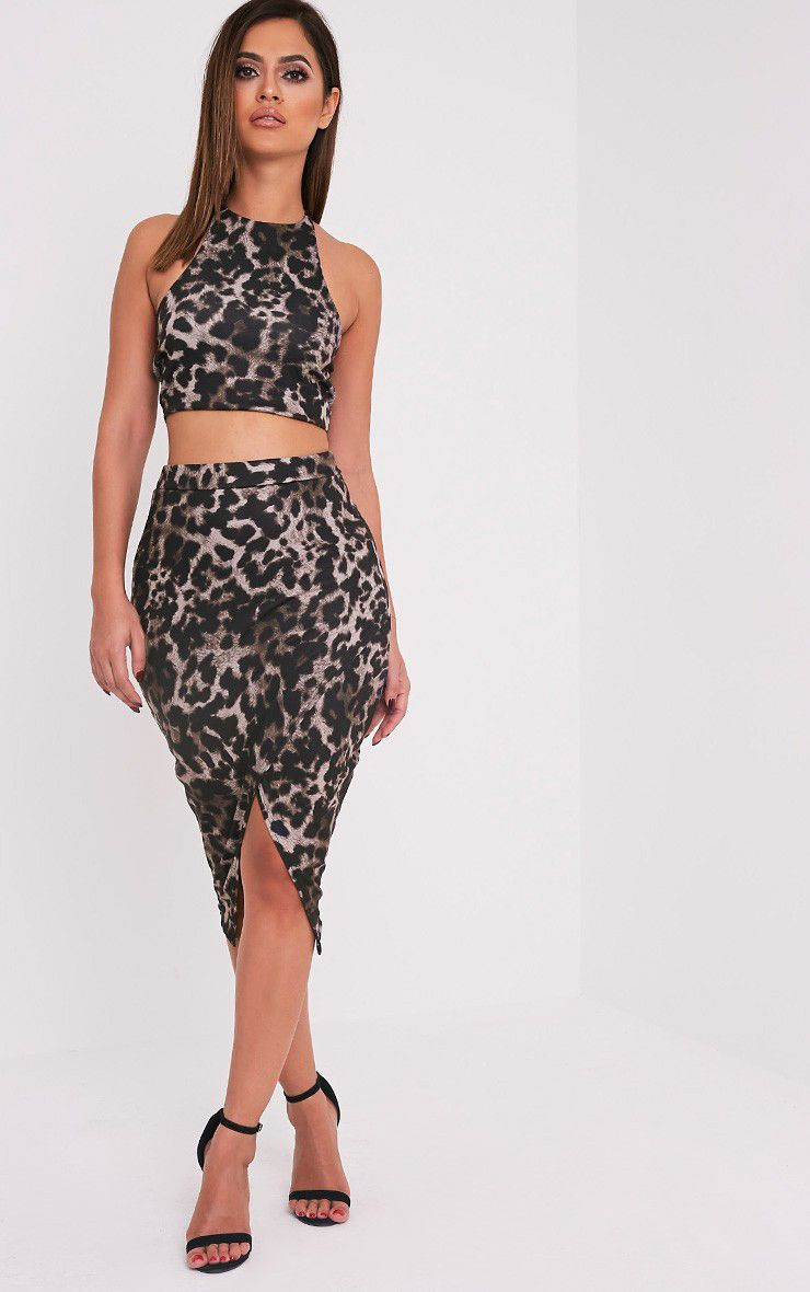 Sannia Brown Animal Print Wrap Midi Skirt 1
