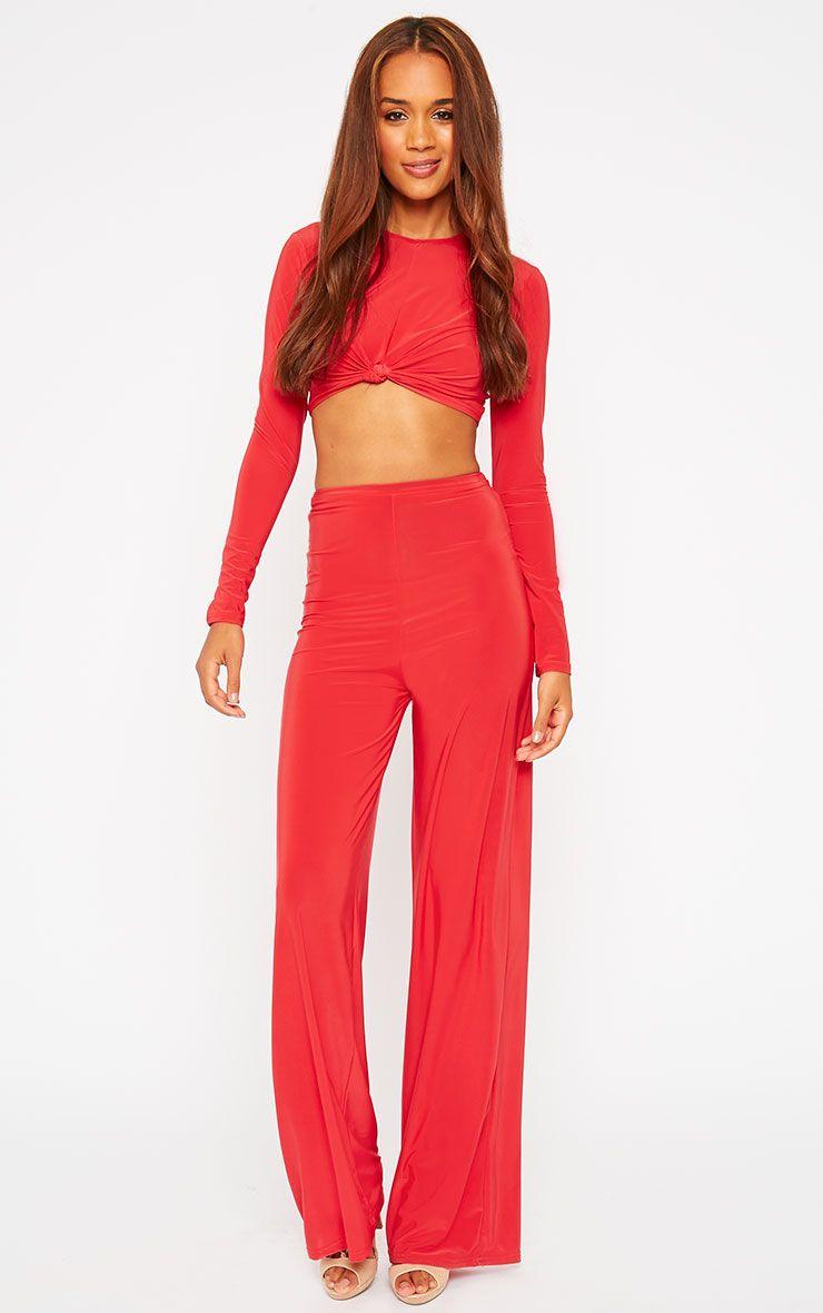 Zafia Red Palazzo Trousers 1