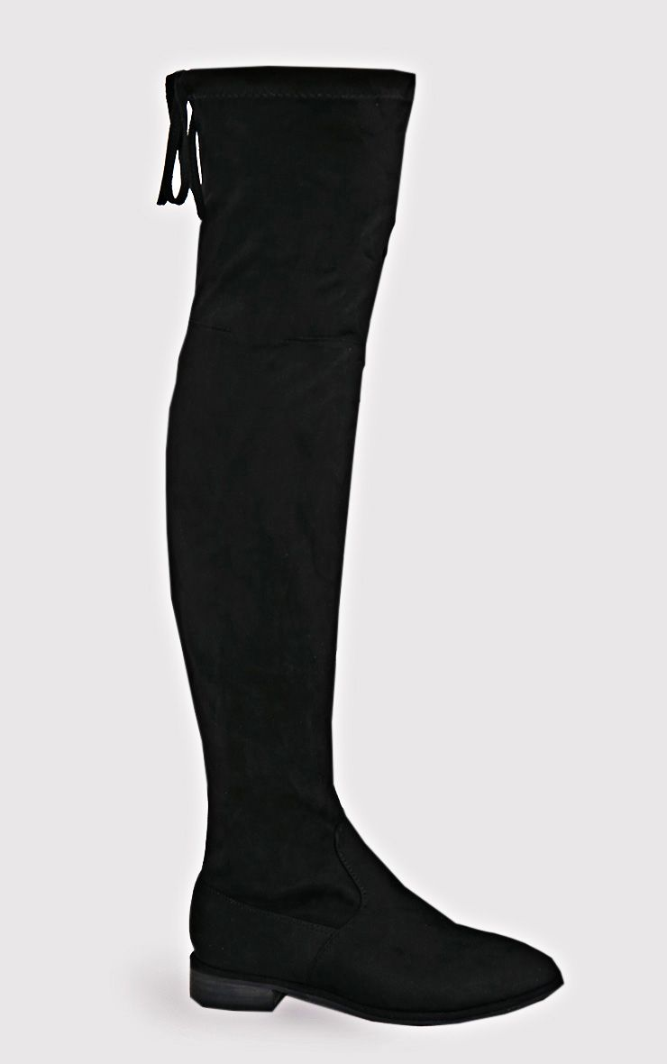 Hillary Black Faux Suede Over The Knee Flat Boots