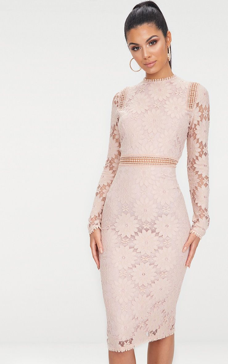 Caris Dusty Pink Long Sleeve Lace Bodycon Dress