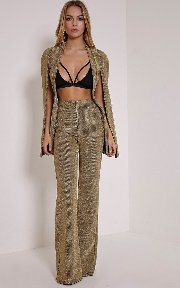 Rita Gold Metallic Ribbed Palazzo Trousers 1