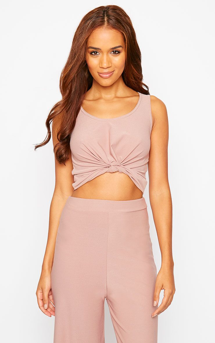 Zuri Dusty Pink Crepe Sleeveless Knot Front Crop Top 1