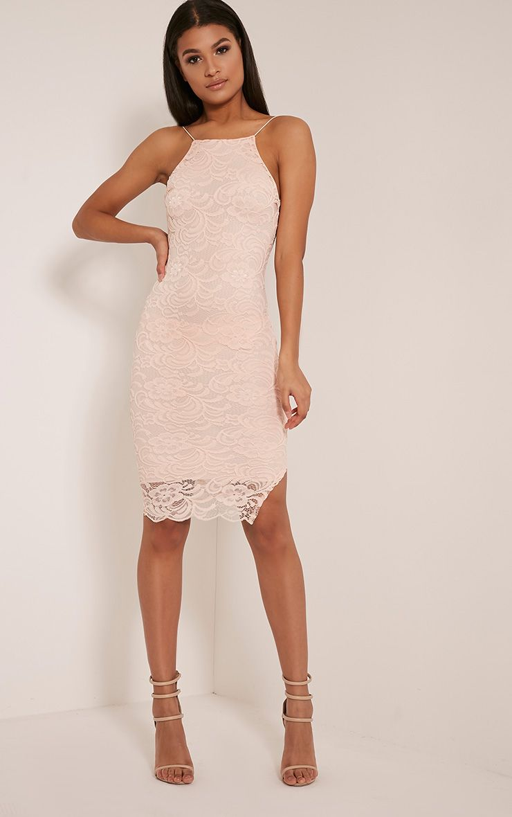 Maddie Nude High Neck Lace Midi Dress