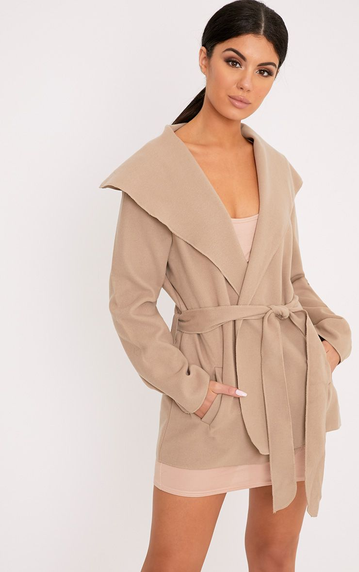 Irinie Beige Waterfall Belted Coat