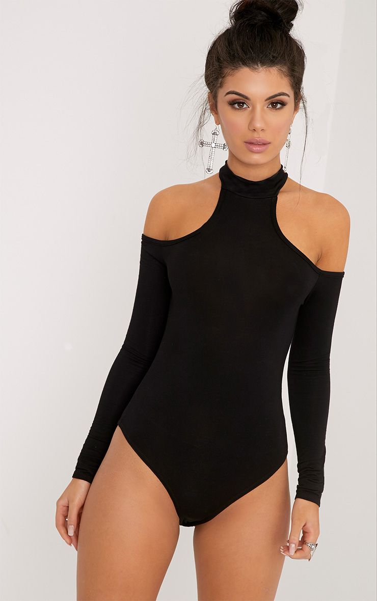 Hazel Black Cut Out Shoulder Bodysuit 1