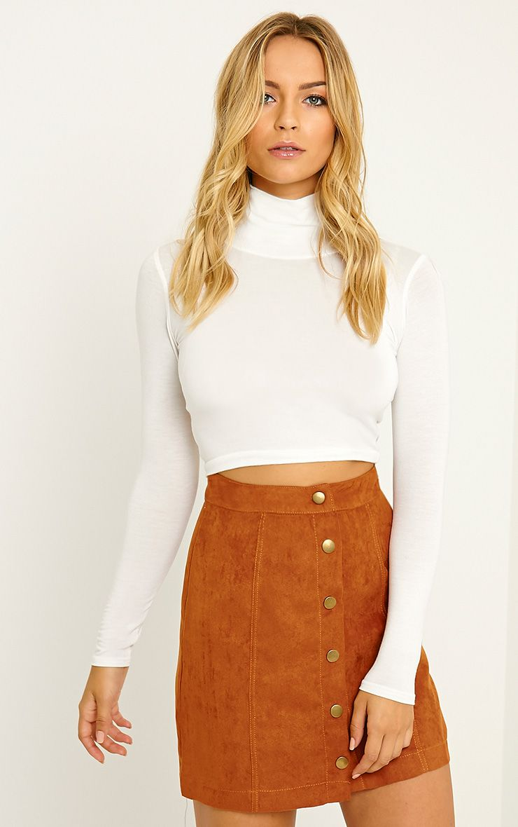 Basic Cream Roll Neck Crop Top