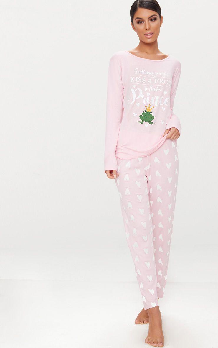 Pink Long Sleeve Frog Prince Valentines PJ Set