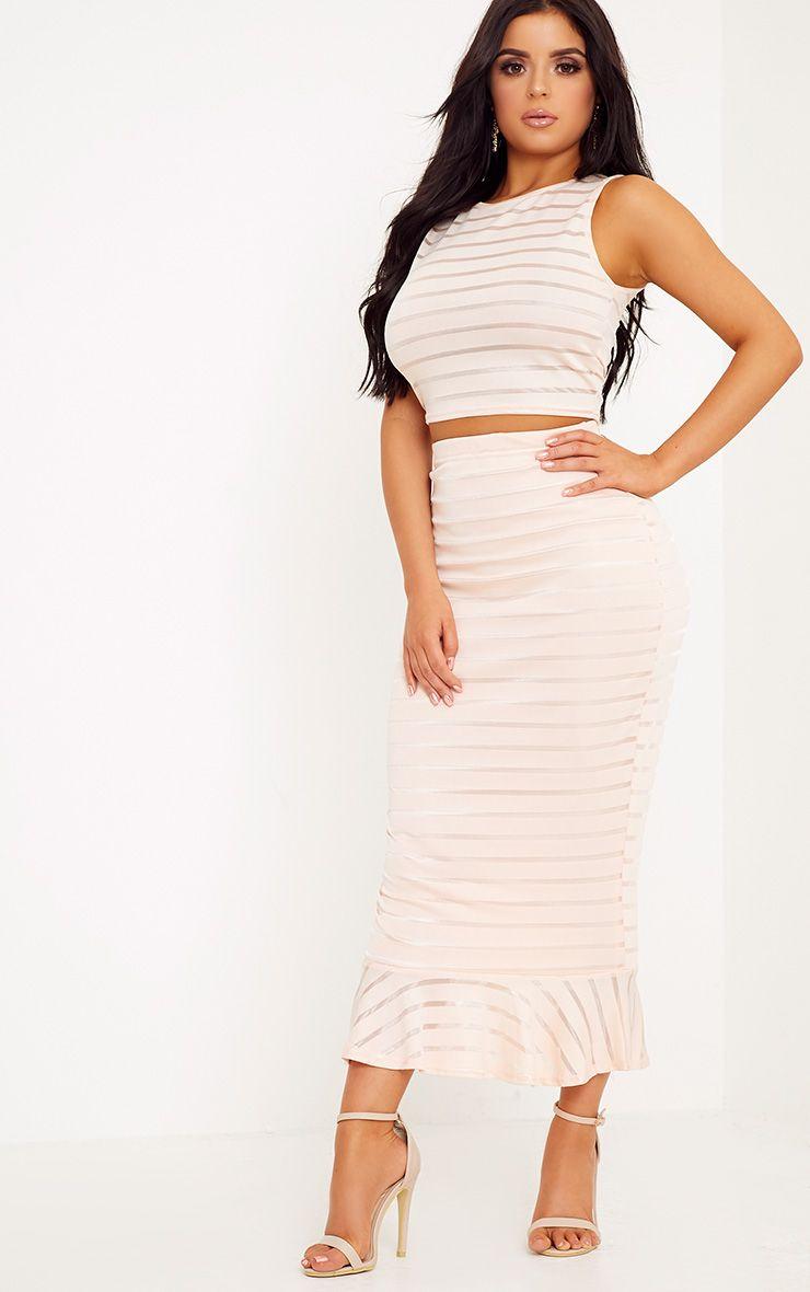 Shape Kandi Nude Burnout Stripe Midi Skirt Co-Ord