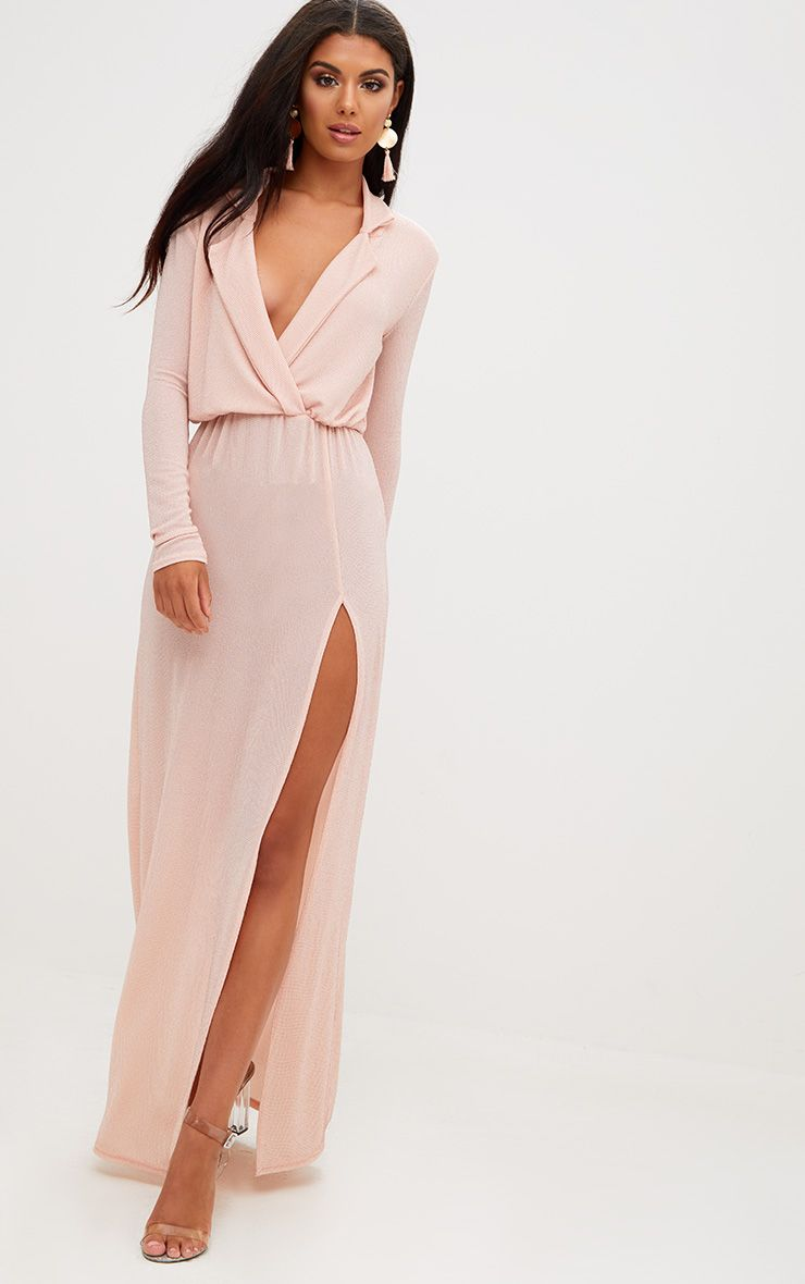 Nude Lurex Plunge Long Sleeved Maxi Dress