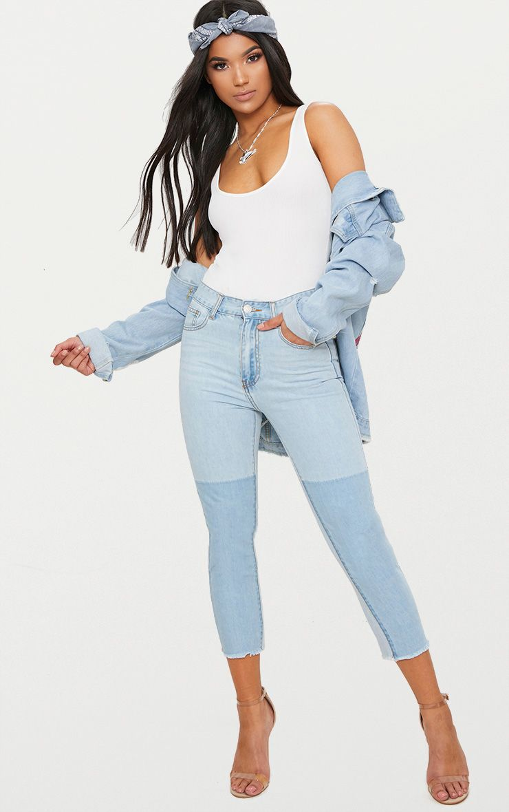 Light Wash Contrast Cropped Skinny Jean