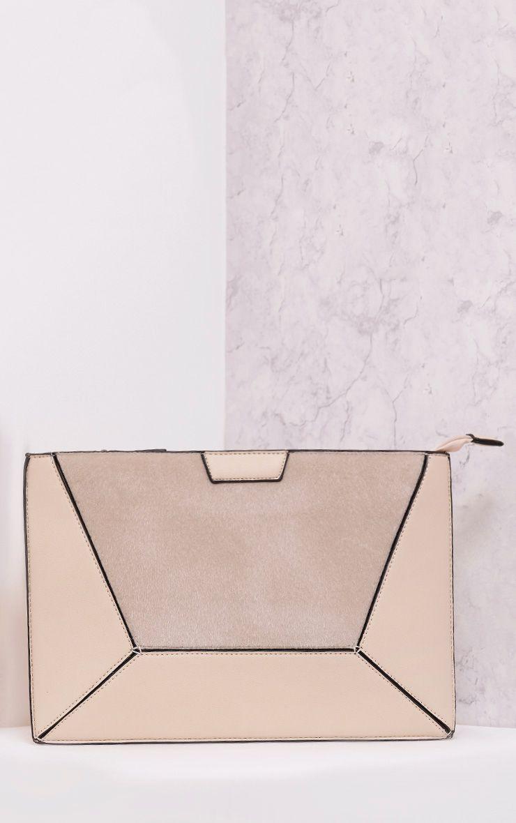 Rolanya Beige Contrast Texture Oversize Clutch