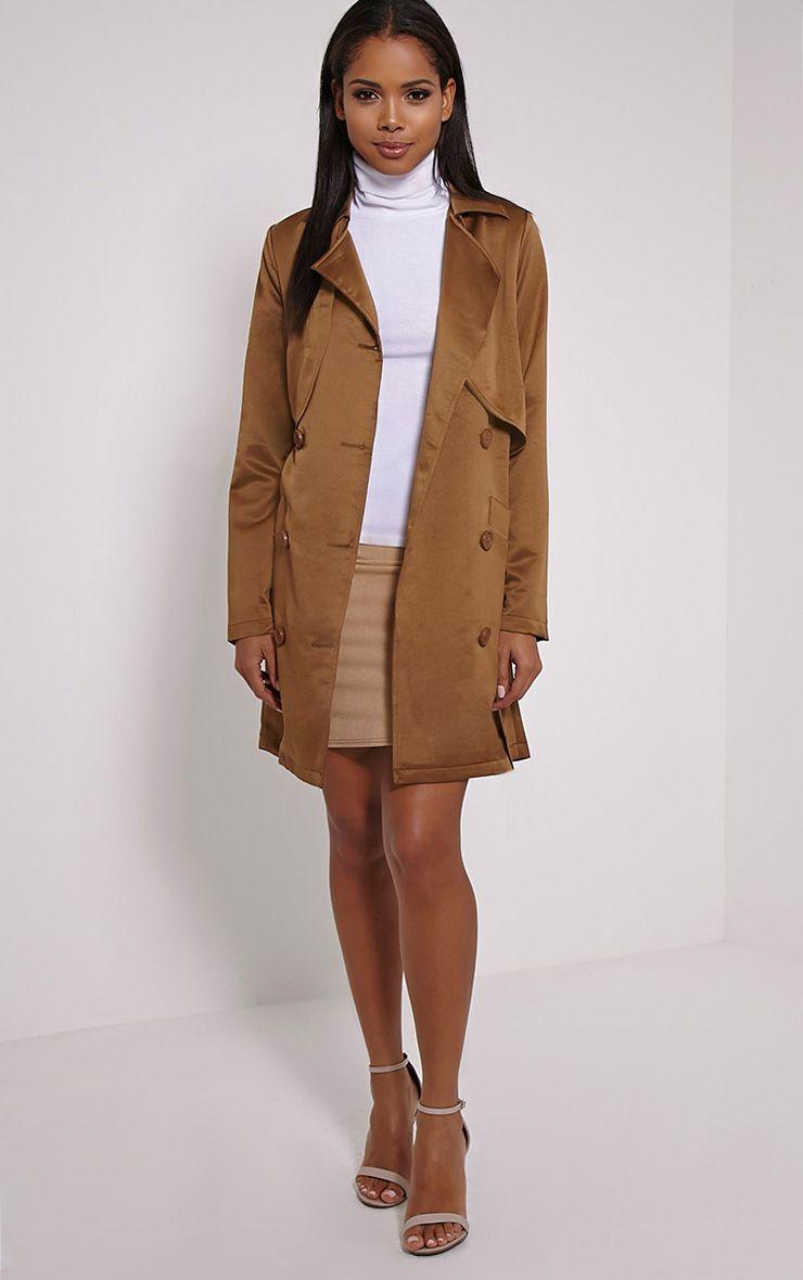 Almeria Khaki Satin Feel Trench Coat 1