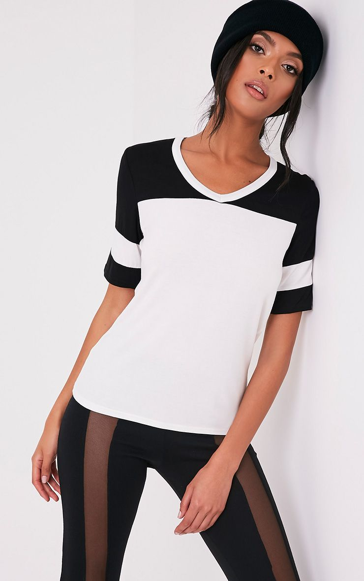 Melita Cream Colourblock V Neck Jersey T Shirt 1