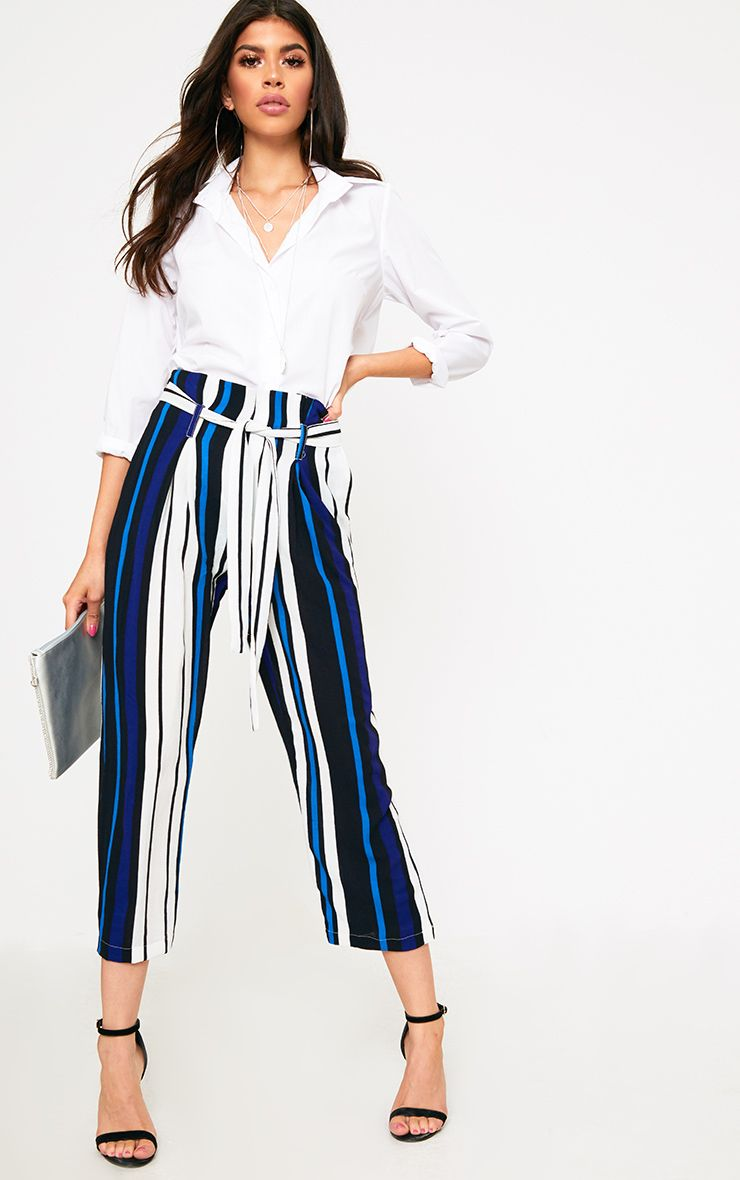 Blue Stripe Paperbag Wide Leg Trousers