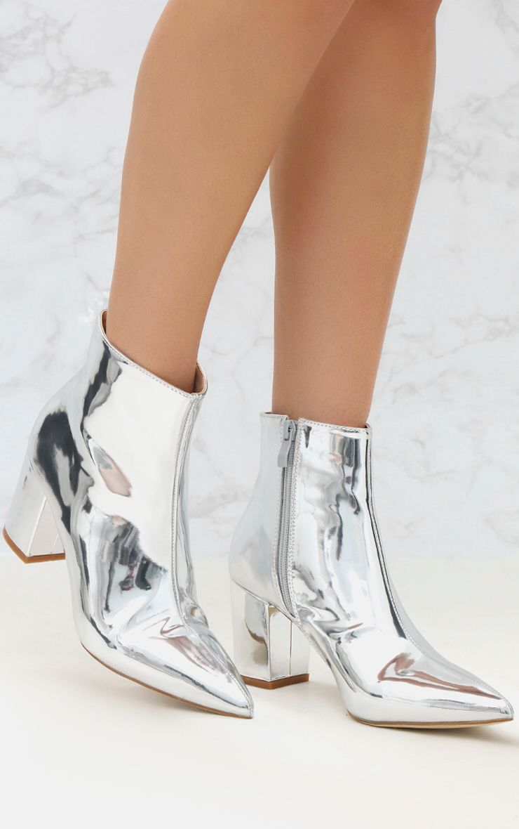 Silver High Shine Metallic Block Heel Ankle Boot