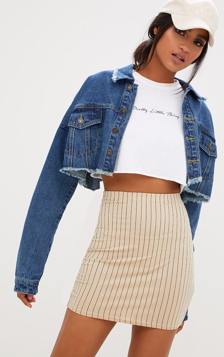 Stone Jersey Pinstripe Mini Skirt
