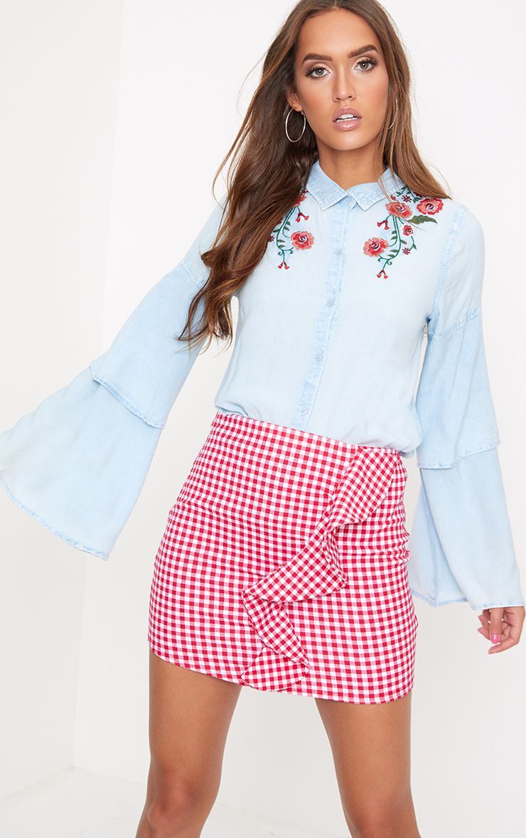 Light Wash Embroidered Ruffle Sleeve Shirt