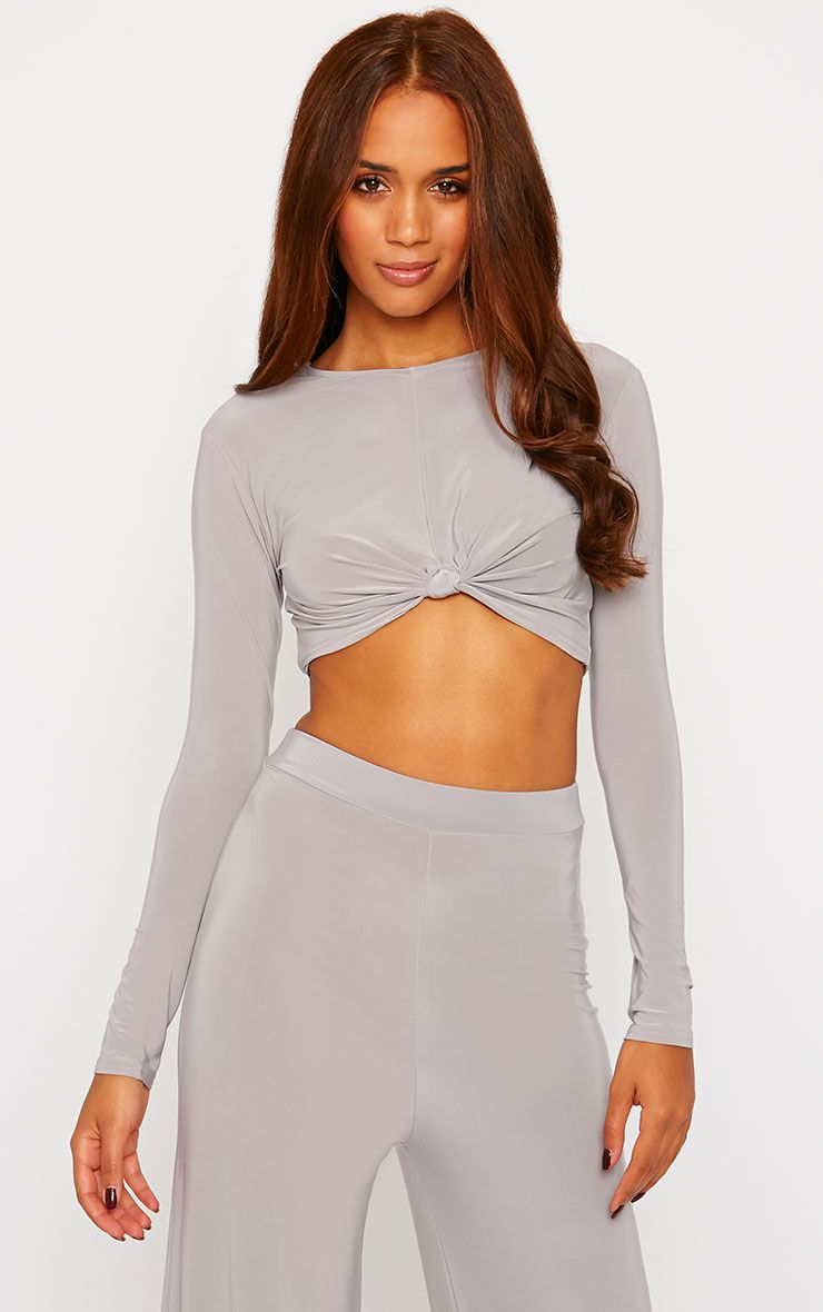 Zafia Grey Knot Front Crop Top 1