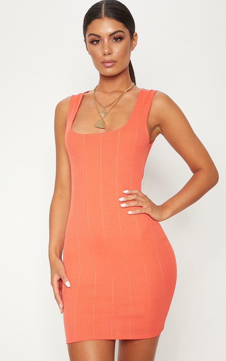 Coral Bandage Square Neck Bodycon Dress