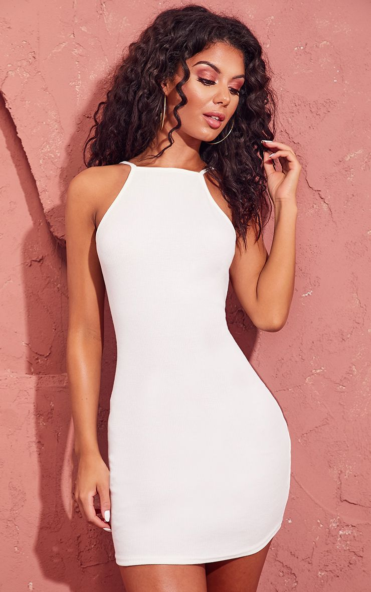 Cream Ribbed 90s Neck Bodycon Dress