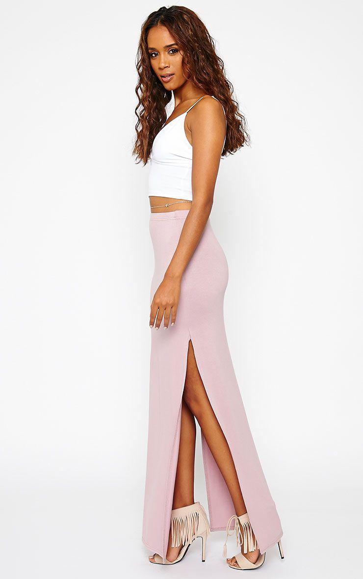 Kayley Mauve Split Jersey Maxi Skirt 1