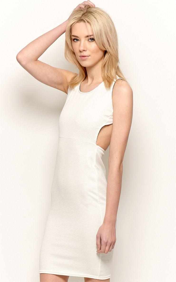 Product photo of Zelia beige backless dress white