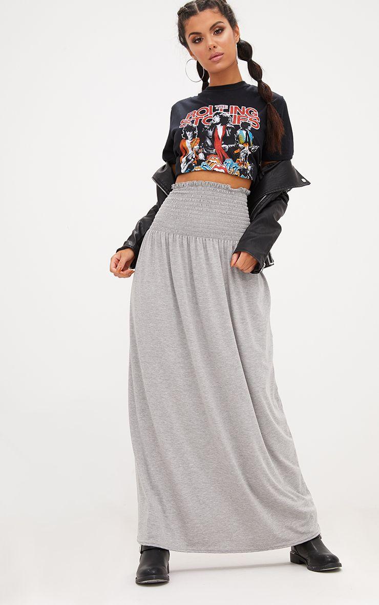 Grey Marl Shirred Waist Maxi Skirt