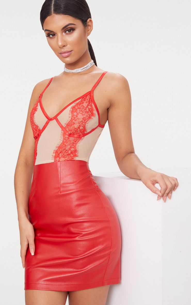 red strappy lace top pu bodycon dress